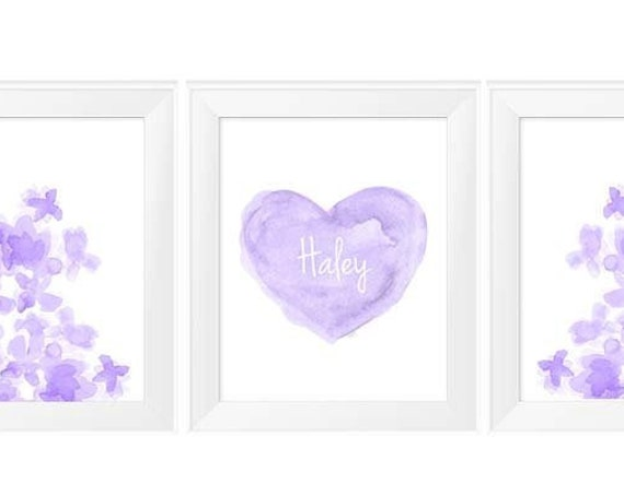 Lavender Wall Decor for Girls, 11x14 Set of 3 Prints with Heart and Flowers