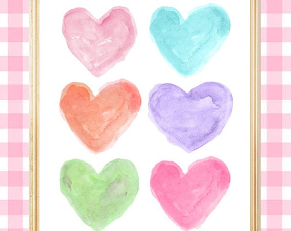 Bright Pastel Print, 8x10 Watercolor Heart Art