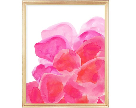 Hot Pink Abstract Flowers Print, 5x7, 8x10