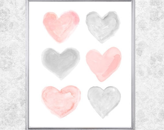 Blush and Gray Nursery Art, 8x10 Watercolor Heart Collage Print