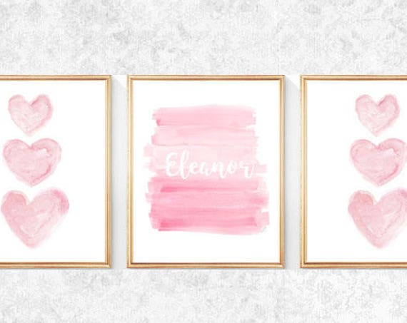 Pink Girls Room Prints, Set of 3- 8x10