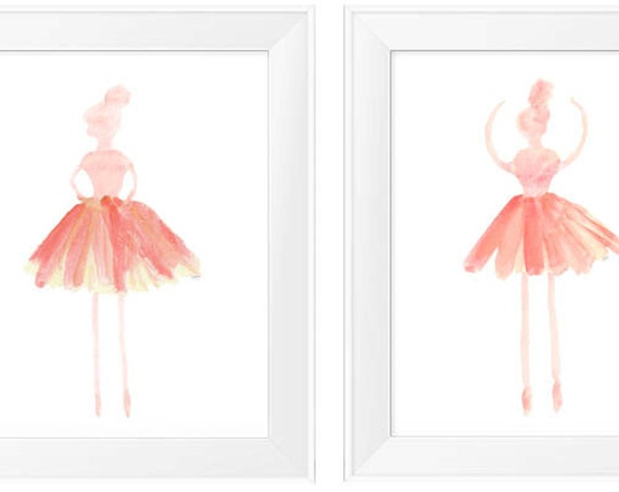 Ballet Prints for Girls in Coral, Set of 2-11x14