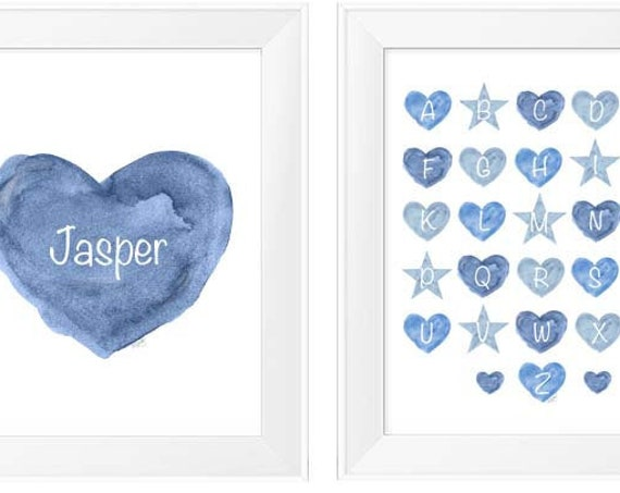 Boys Blue Nursery Print Set, Set of 2- 11x14 Prints with ABC's