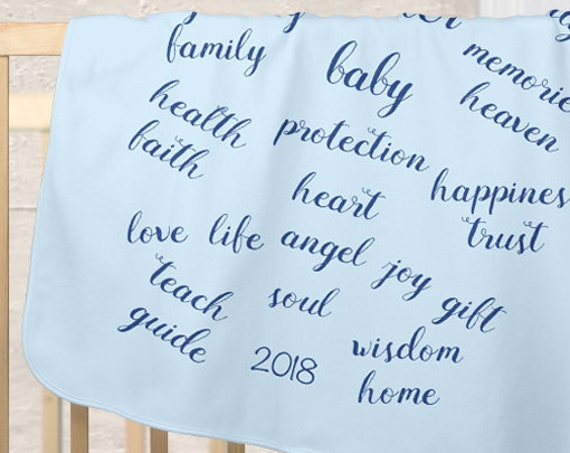 Blessings Blanket for Boy in Pale Blue with Custom Date