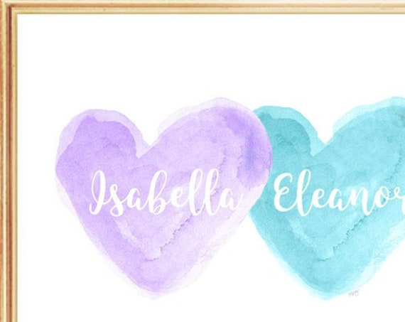 Lavender and Turquoise Girls Wall Decor, 8x10 Personalized Sisters Print