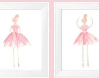 Blush Ballerina, Set of 2, Ballerina Art, Girls Ballet Decor, Girls Ballet Print, Blush Girls Decor, Ballerina Decor, Blush Ballet Art