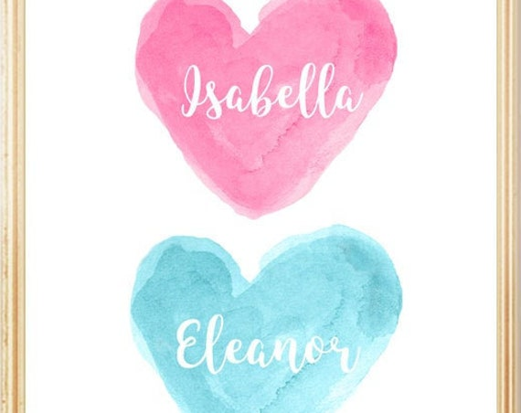 Hot Pink and Turquoise Children's Wall Decor, Personalized Print