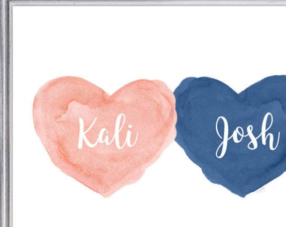 Coral and Navy Kids Room Print,  Personalized