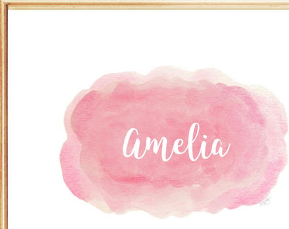 Cloud Print for Baby Girl Nursery, 8x10 Personalized Watercolor