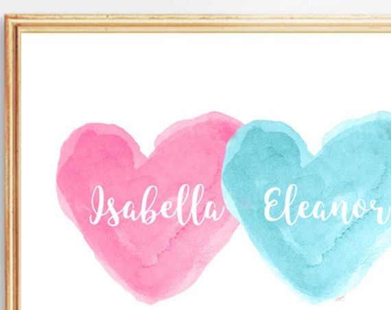 Pink and Turquoise Girls Decor, 8x10 Personalized Sisters Print