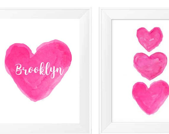 Hot Pink Girls Decor, Set of 2 - 11x14 Personalized Watercolor Prints,
