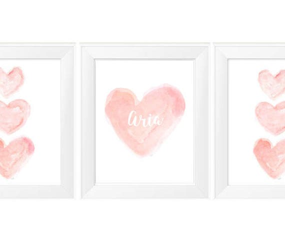 Blush Wall Decor, 11x14 Set of 3 Personalized Watercolor Prints
