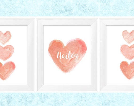 Personalized Coral Nursery Prints; Set of 3 - 11x14 Watercolors