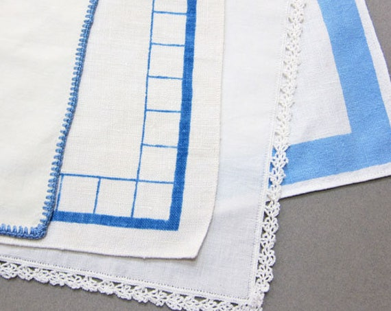 Blue Retro Vintage Napkins, Set of 4