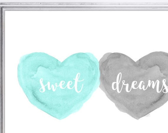 Gray and Mint Nursery Print with Sweet Dreams Print, 8x10