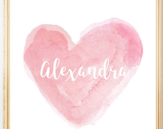 Personalized 8x10 Watercolor Heart Print for Girls in 11 Colors