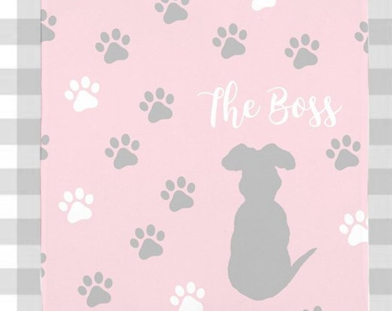 Pink Dog Blanket with Name for Girl Dog, 5 Colors Available