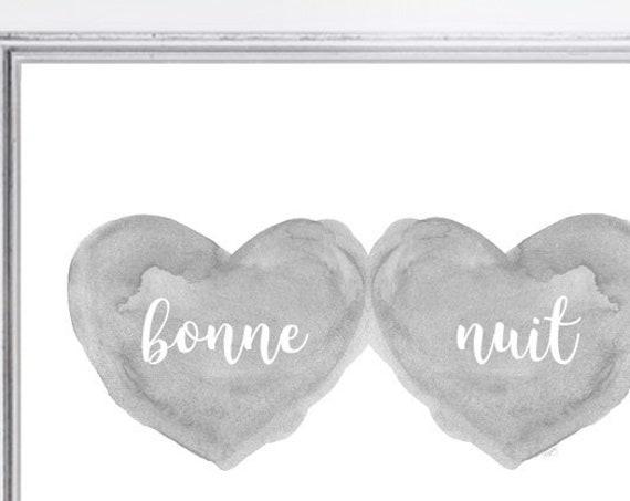 Bonne Nuit Nursery Print in Gray, 5x7, 8x10