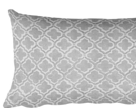 "Moroccan Pattern Pillow in Gray, 12""x20"""