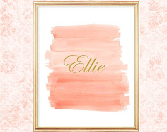 Coral and Gold Personalized Nursery Artwork, 8x10