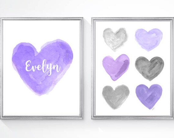 Purple and Gray Heart Prints for Girls Room, Set of 2-8x10 Watercolors