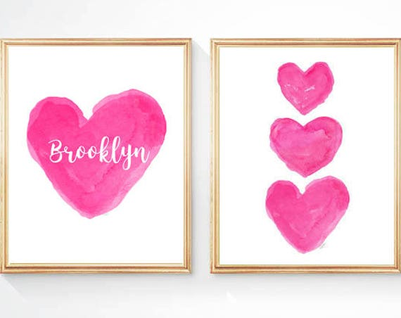 Hot Pink Heart Prints for Girls Room, Set of 2 - 8 x 10 Personalized