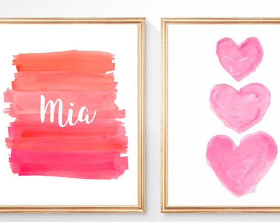 Hot Pink and Orange Girls Prints, Set of 2 - 8x10 Personalized for Girl's Room