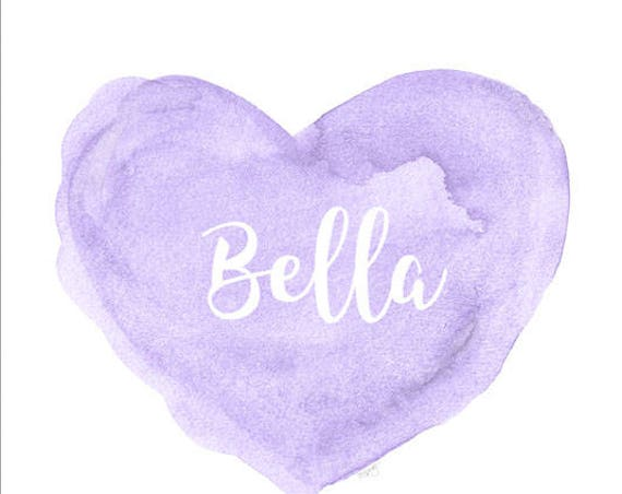Lavender Nursery Decor, 11x14 Personalized Heart Print