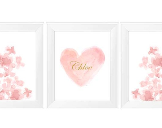 Personalized Blush and Gold Nursery Prints, Set of 3-11x14