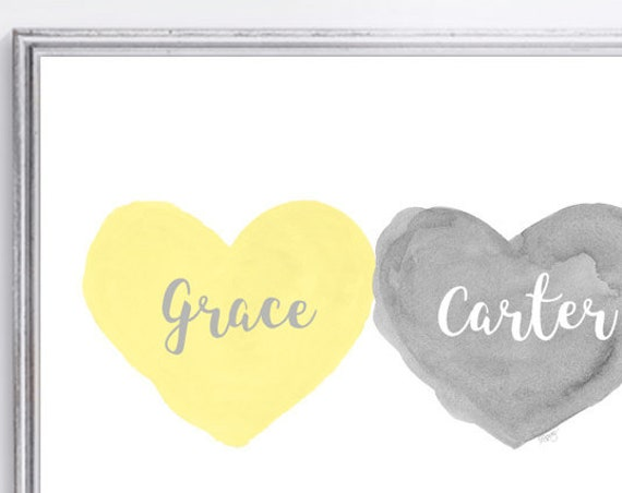 Gray and Yellow Nursery Wall Decor for Brother and Sister, 11x14 Personalized
