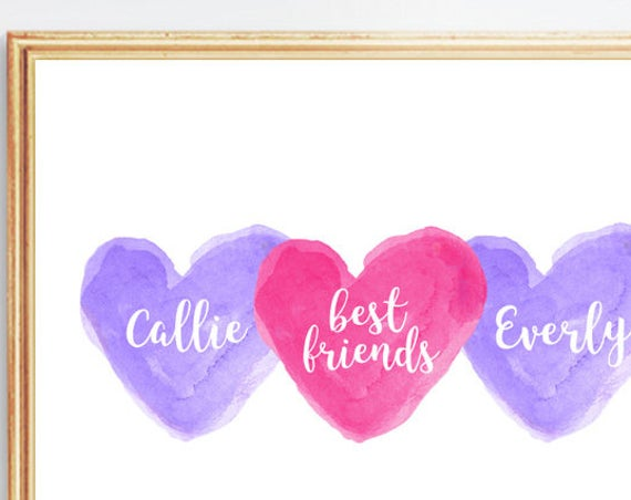 Sisters and Best Friend Print, 8x10 Personalized