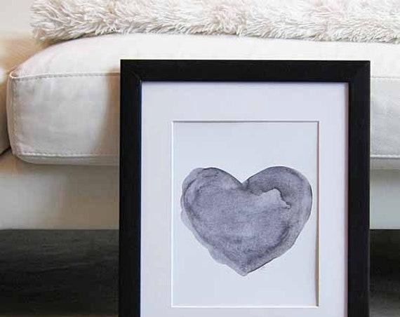Black Watercolor Heart, 8x10 Print