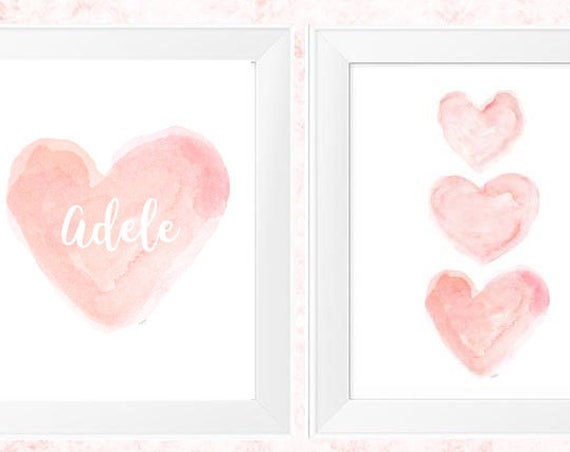 Baby Nursery Decor in Blush, 11x14 Set of 2 Personalized Watercolor Prints