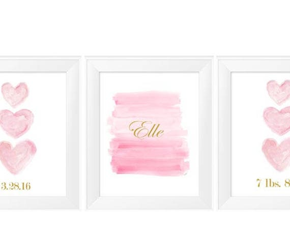 Pink and Gold Birth Stats Prints for Nursery, 11x14-Set of 3