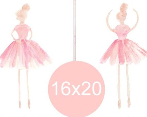 Girls Ballet Prints, Kids Posters, Blush Ballerina, 16x20 Set of 2, Ballet Poster, Ballerina Art, Ballet Decor, Blush Decor, Ballerina Decor