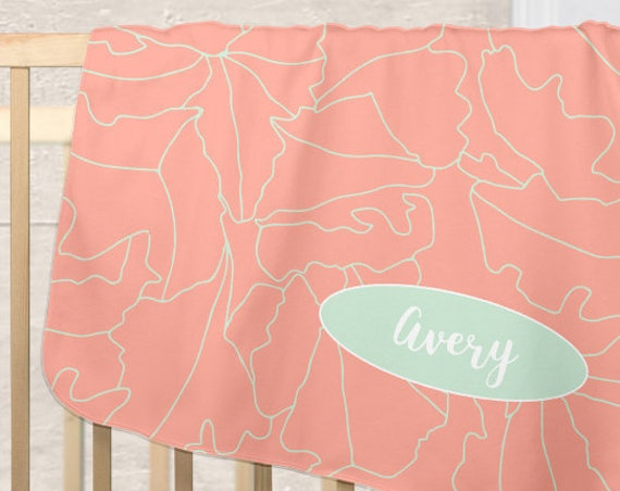 Mint and Coral Baby Blanket for Modern Nursery