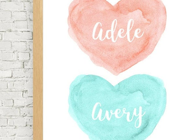 Coral and Aqua Personalized Nursery Print, 11x14 Watercolor