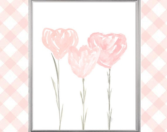 Blush Flower Print, 8x10 Tulip Watercolor