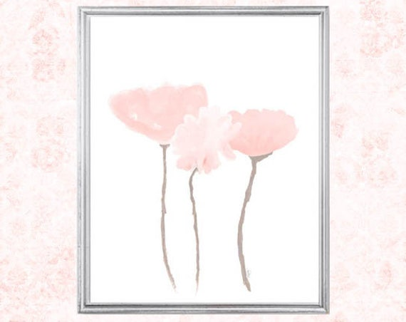 Blush Flowers Print in 8x10