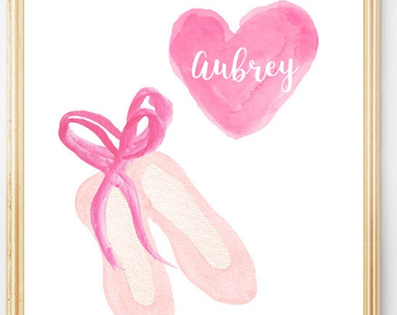 Personalized Ballet Slippers Print, 8x10