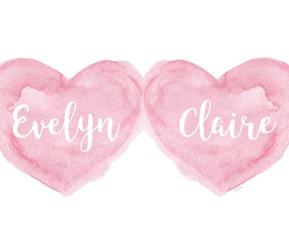 Twin Girls Gift, 11x14 Personalized Art Print