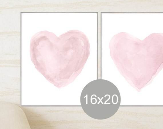 Dusty Mauve Watercolor Heart Print Set, 16x20-Set of 2