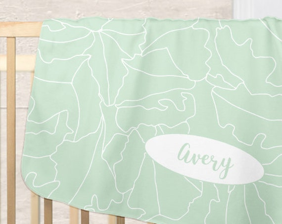 Contemporary Mint Blanket for Baby with Personalized Name and Tropical Leaves