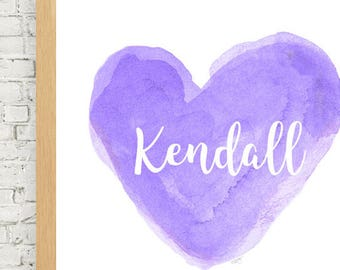 Purple Nursery Art, 11x14, Watercolor Heart Art Print, Lavender Nursery Decor, Personalized Print, Baby Girl Nursery Art, Lavender Girls Art