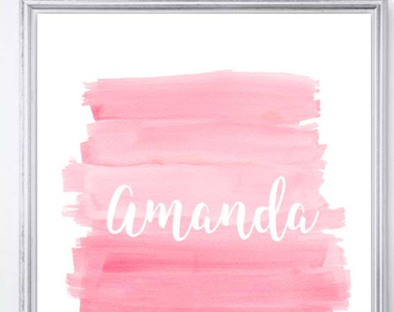 Pink Ombre Brushstroke Print for Girls, 8x10 Personalized