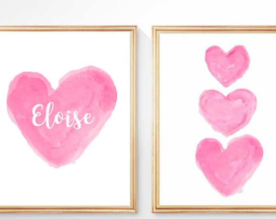 Hot Pink Prints for Girls Room, Set of 2 - 8x10 Personalized with Name