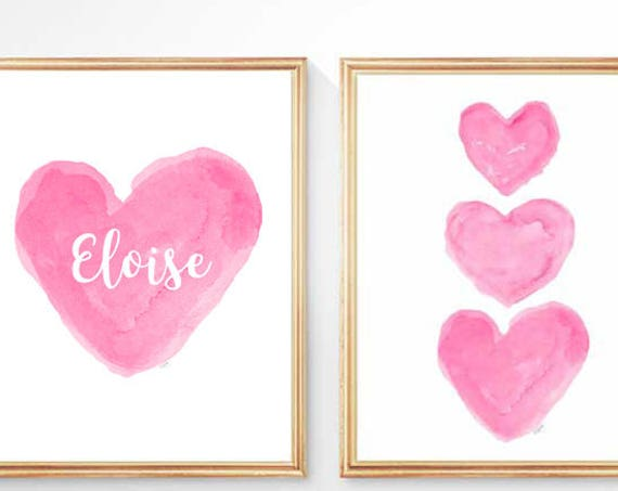 Hot Pink Girls Heart Prints, Set of 2 - 8x10 Personalized