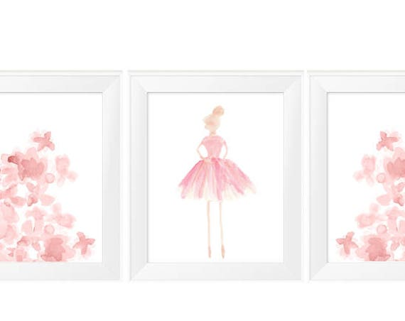 Prima Ballerina and Flowers Prints, Set of 3 - 11x14