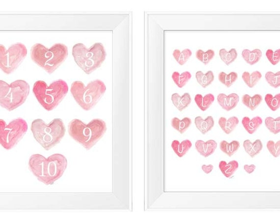 Pretty Pastel Pink Hearts with ABC's and 123's, Set of 2- 8x10 Prints