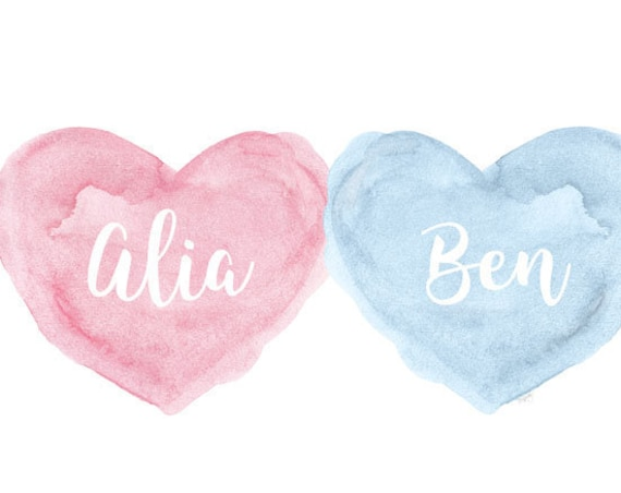 Twins Baby Gift, Pink and Blue Personalized Print, 11x14